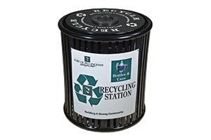 Reading recycling receptacle with a custom decal wrap and lid