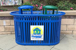 Dual Midtown trash and recycling container with KeyshieldArt signage
