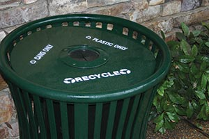 Harmony Recycling Receptacle with custom decals and baffle
