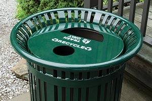 Midtown Receptacle with split recycling and trash capabilities