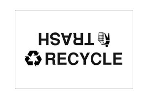 Standard Trash and Recycle Decal for split receptacle lids